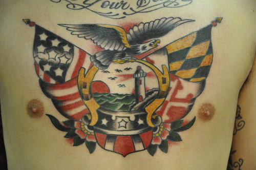 Chest Eagle, Light house,traditional,tattoo,maryland flag,american flag and