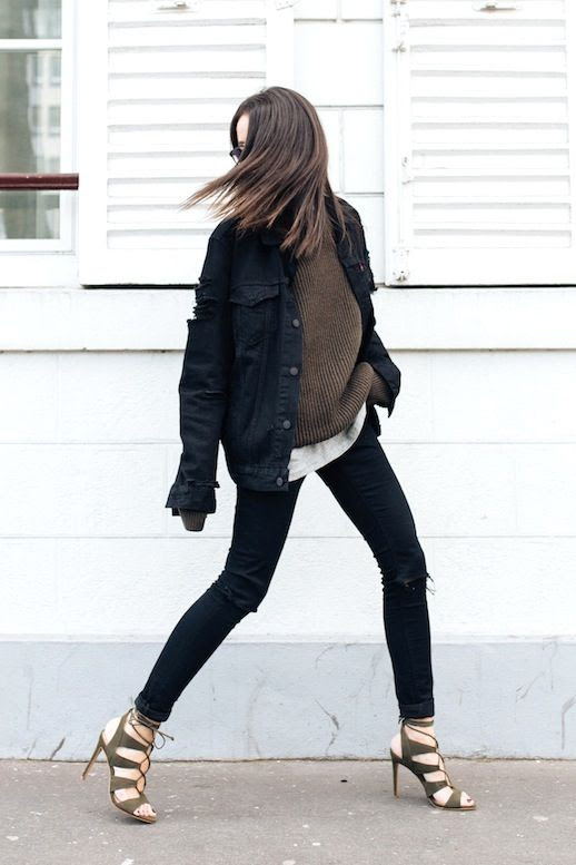 Le Fashion Blog Fall Blogger Style Oversized Black Denim Jacket Brown Ribbed Sweater Grey Tee Skinny Jeans With Ripped Knees Olive Green Lace Up Heeled Sandals Via Alex's Closet