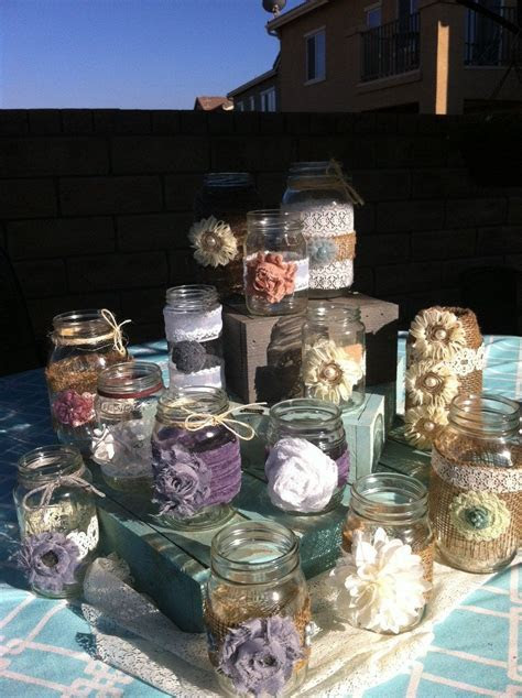 RUSTIC WEDDING DECOR. 25 Bulk Burlap Lace Mason Jars for