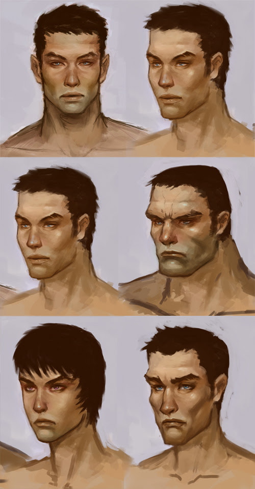 design different style of faces for concept art