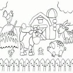 printable preschool coloring page  happy farm animals