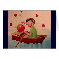 Boy Holding Heart in Boat Greeting Card
