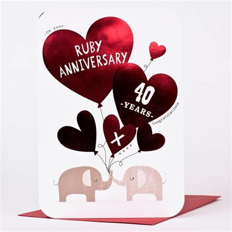 Ruby Anniversary Card   40 Years   Only 99p