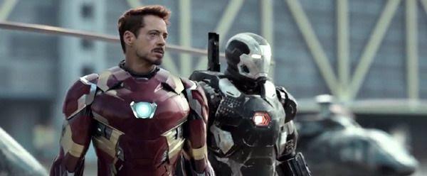 Iron Man (Robert Downey, Jr.) and War Machine (Don Cheadle) show up in CAPTAIN AMERICA: CIVIL WAR.