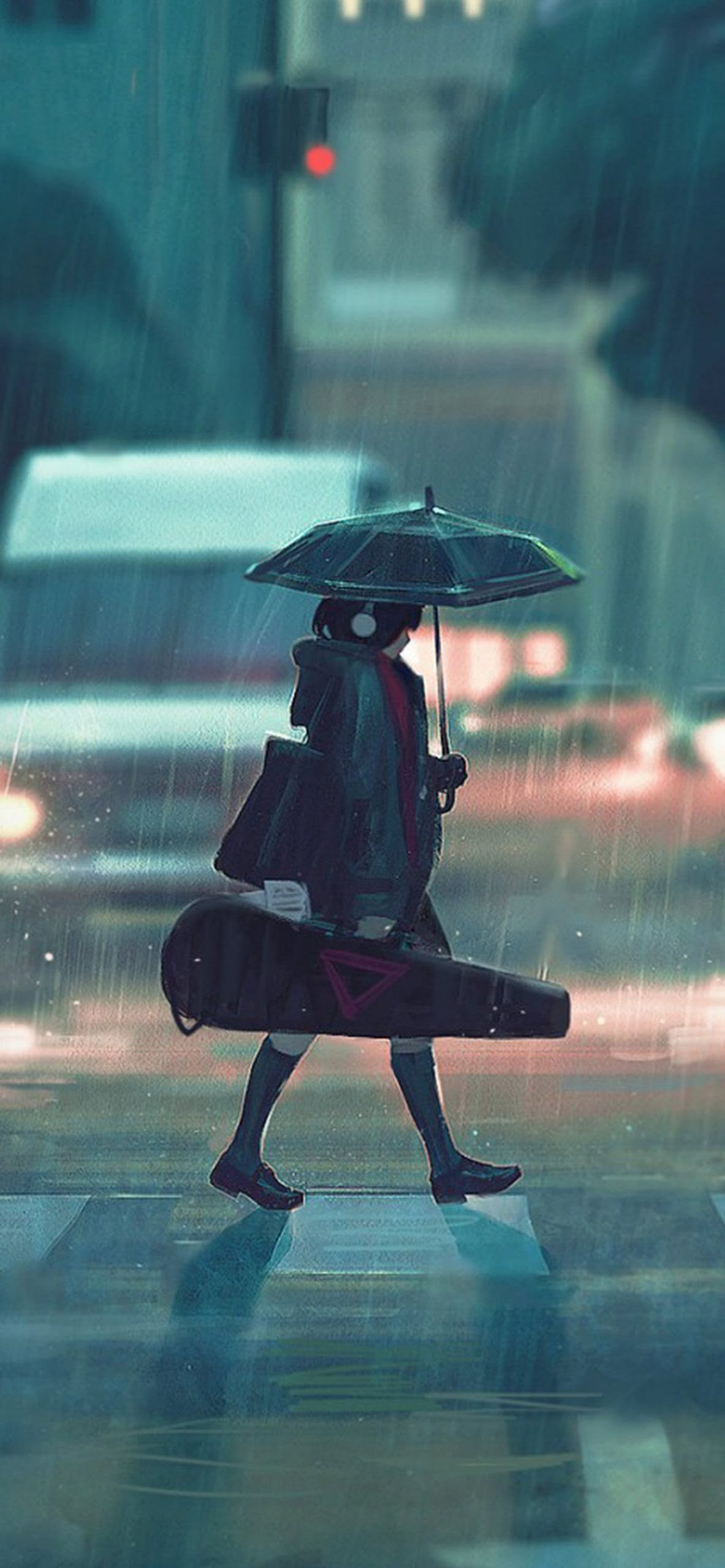 雨の日アニメのペイントガールiphone Xs Max壁紙 1242 2688