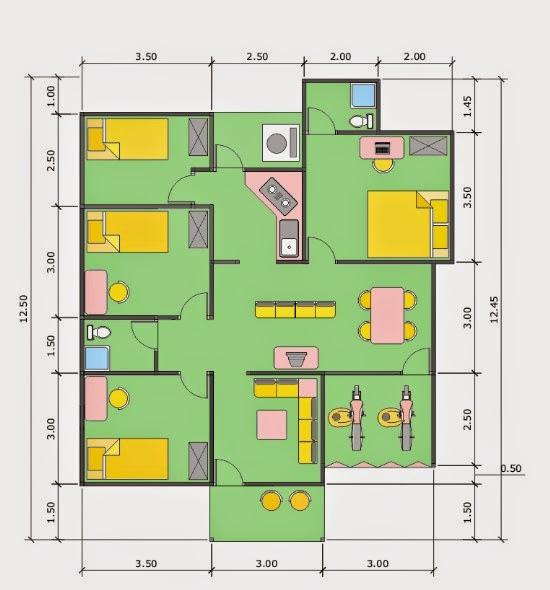Idea Denah Rumah 9x13 3 Kamar Desain Rumah Minimalis Desain Rumah Minimalis