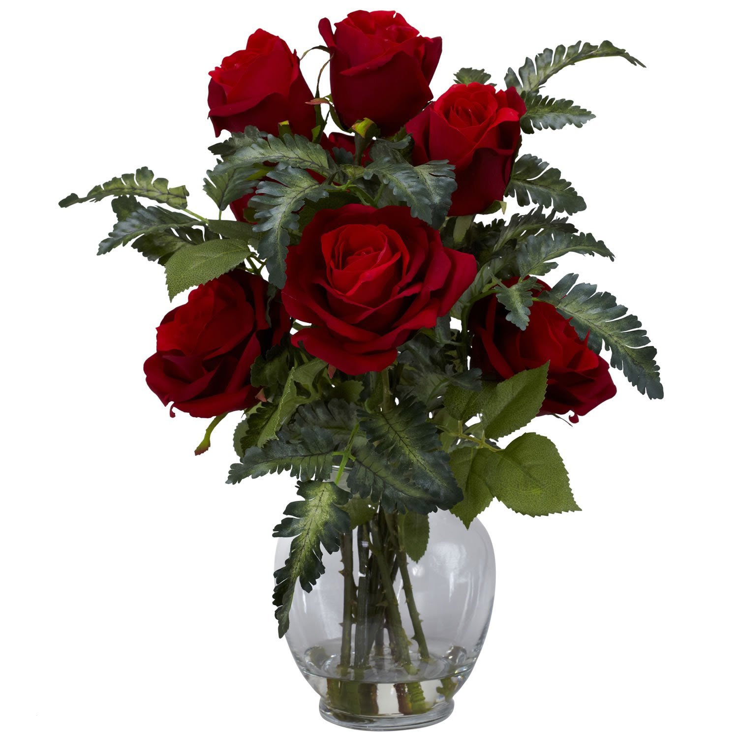 Nearly Natural Red Rose \u0026 Fern Silk Flower Arrangement in Vase \u0026 Faux Water 1280