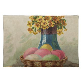 Vintage Easter Basket with Colored Eggs Placemat