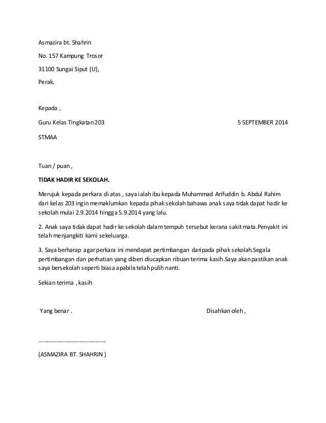 Contoh Contoh Surat Rasmi Tidak Hadir Ke Sekolah
