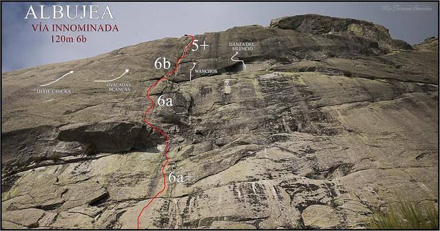 CROQUIS VÍA INNOMINADA -120 m 6b - ALBUJEA