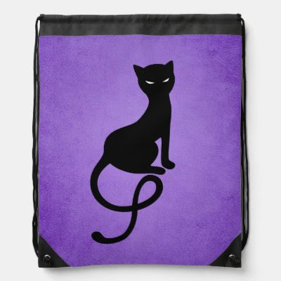 Purple Gracious Evil Black Cat Drawstring Backpacks