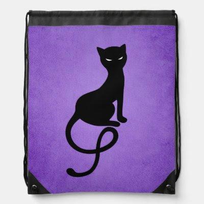Purple Gracious Evil Black Cat Drawstring Backpacks