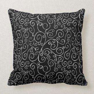 White Scrolling Curves on Black Throw Pillow