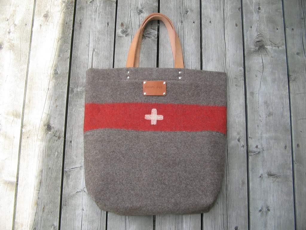 Swiss Army Wool Blanket  Bag - XL- Gray / taupe- red  stripe - Carry All Tote- Personalized- Top Grade Leather Handles - Great Gift Idea - Ecolution
