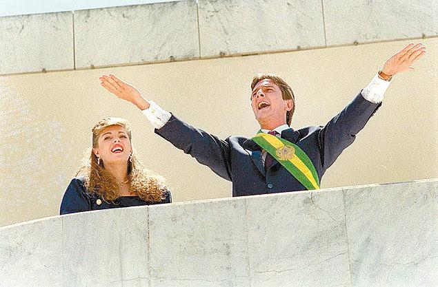 Mônica Bergamo - 30.11.2014 - Posse do presidente Fernando Collor de Mello. Ao lado, a primeira-dama Rosane. (BrasÌlia, DF, 15.03.1990. Foto de Roberto Jayme/Folhapress) ORG XMIT: AGEN1011240844495720