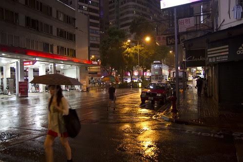 Rain-drenched street of Hong Kong
