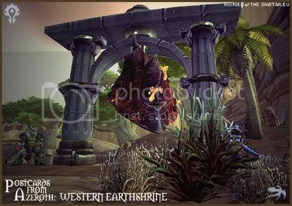 Rioriel's daily World of Warcraft screenshot presentation of significant locations, players, memorable characters and events taken on the European roleplaying server The Sha'tar, assembled in the style of a postcard series. -- Postcards from Azeroth: Western Earthshrine, by Rioriel of theshatar.eu
