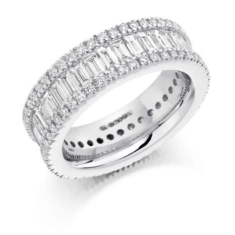 Platinum Baguette Cut & Round Brilliant Cut Diamonds Full