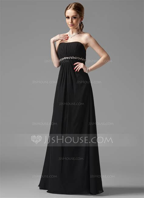 Empire Strapless Floor Length Chiffon Bridesmaid Dress