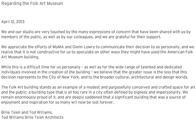 Regarding the Folk Art Museum