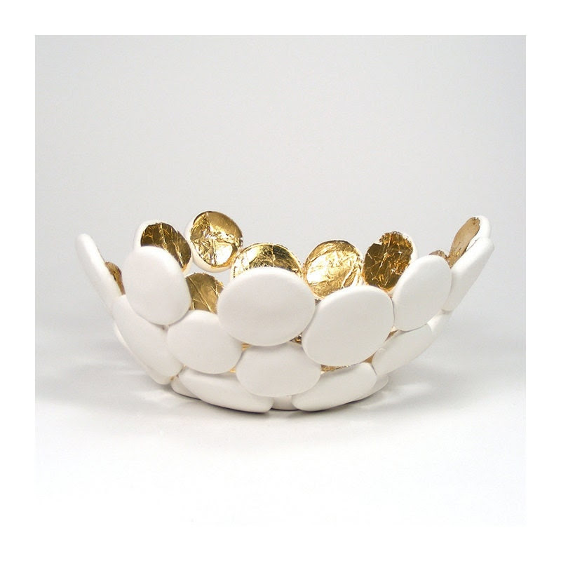 White Bubble Bowl with Gold - Luminosity / Gift under 40, Home Decor, Trinket Bowl, Home Accent, Candy Dish, Clay - mkwATELIER