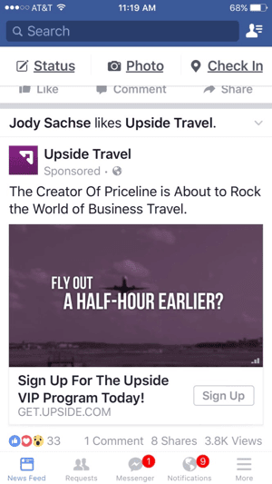 upside travel facebook video ad