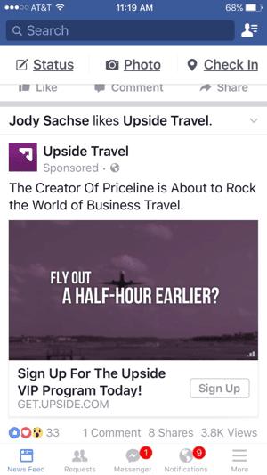 upside travel facebook video ad