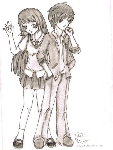 easy anime drawings random anime couple  xxrioxx