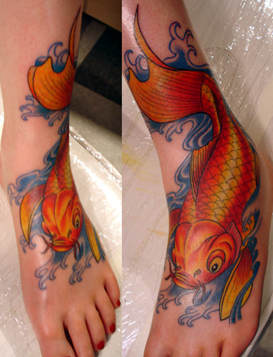 The Company Fish Koi Fish Tattoo On Foot