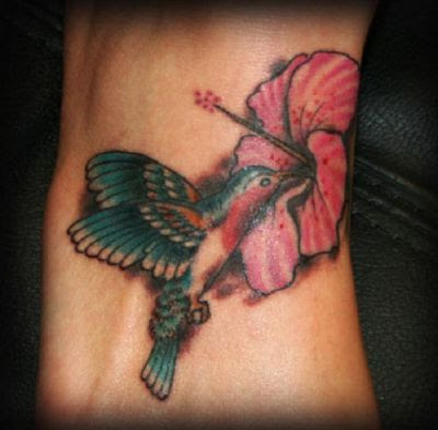 Hummingbird And Hibiscus Flower Tattoo Design On Foot Tattoomagz