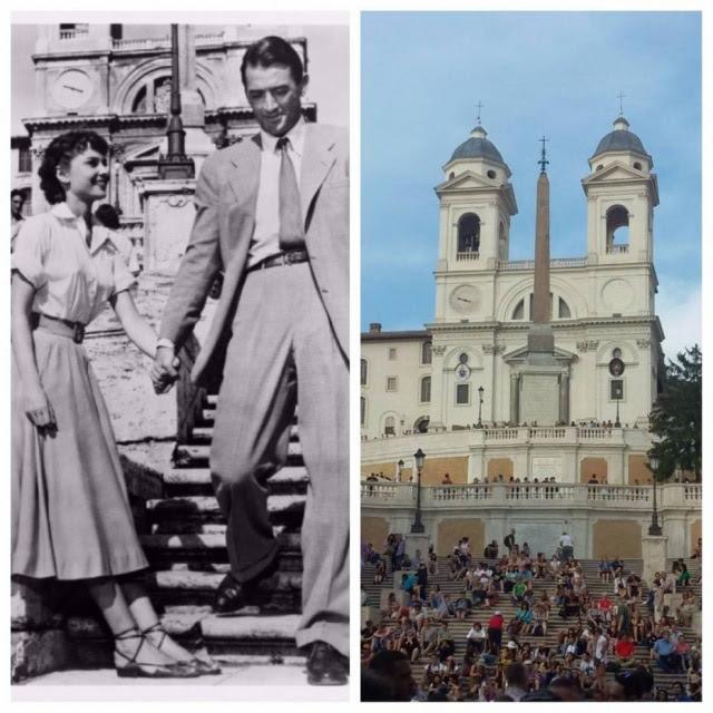 Princesa Ann na Piazza di Spagna, nas escadarias da igreja Trinitá dei Monti, e o mesmo lugar hoje em dia
