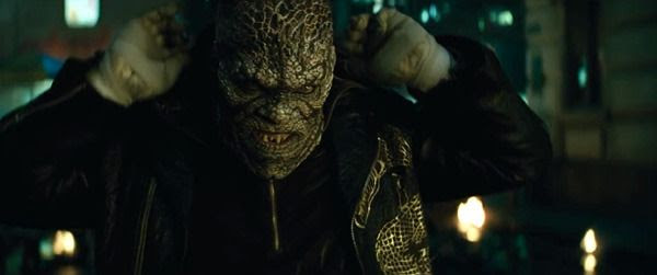 Killer Croc (Adewale Akinnuoye-Agbaje) is ready to use his sharp fangs and claws on hapless enemies in SUICIDE SQUAD.