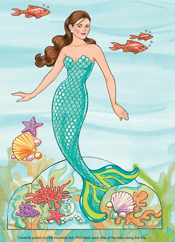 mermaid under water free paper doll 1
