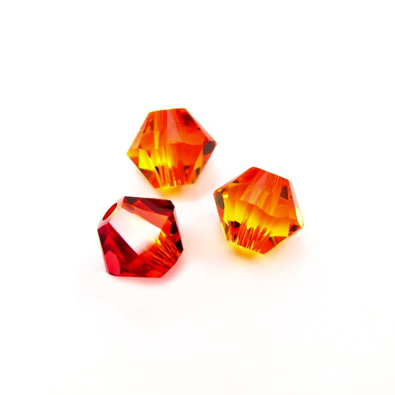 27753011309237 Swarovski Bead - 4 mm Faceted Bicone (5301) - Fireopal (36)