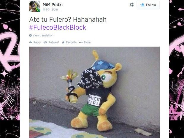 Fuleco é fantasiado de black bloc após goleada da Alemanha contra o Brasil (Foto: Reprodução/Twitter)