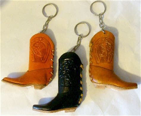 Leather cowboy boot keychain, Western keyring