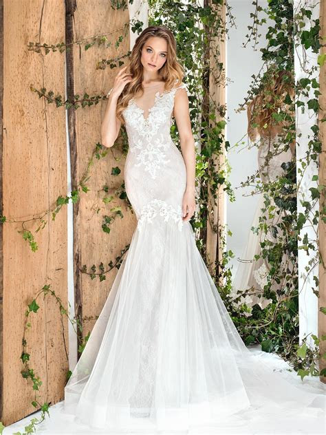 Papilio Cap sleeve fit and flare lace wedding dress