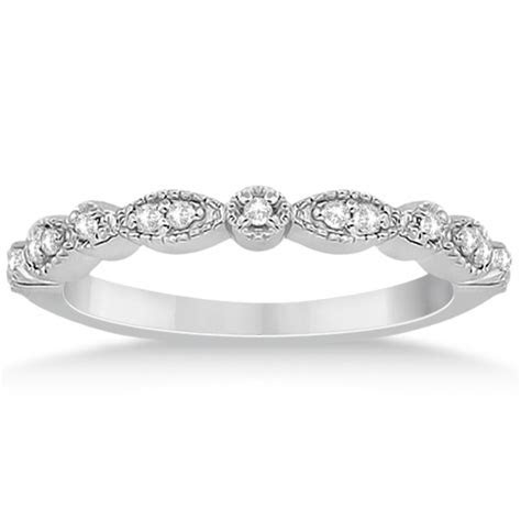 Petite Marquise & Dot Diamond Wedding Band 14k White Gold