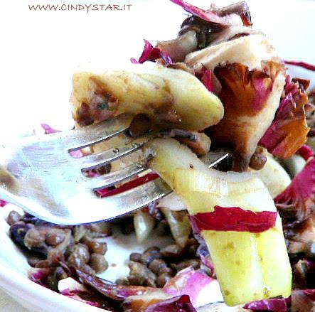 insalata tiepida di lenticchie, radicchio rosso,finocchi e speck