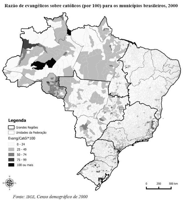 Distribuição espacial da transição religiosa no Brasil