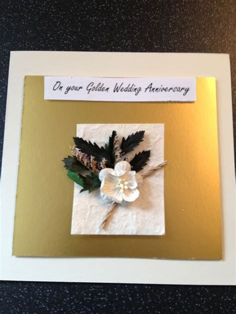 Golden wedding Anniversary Handmade Card   Folksy