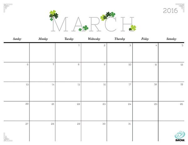 March 2017 Calendar Cute
