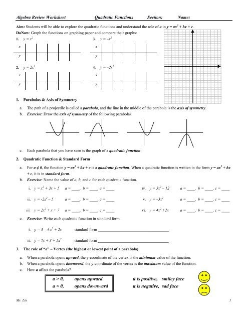 Graphing Quadratic Functions Worksheet Answer Key Algebra 1