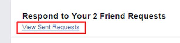 Facebook screenshot 'View Sent Requests'