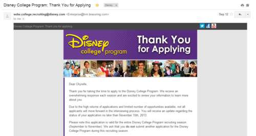 Disney College Program Thank Your For Applying email