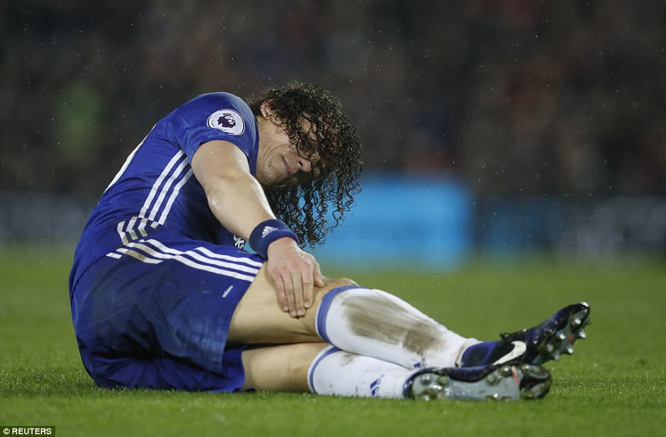 There was a moment of concern for Chelsea as Luiz goes down with a knock but the goalscorer was able to run it off