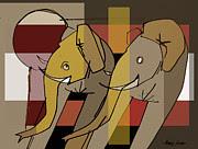Artist  Singh - Two Elephants