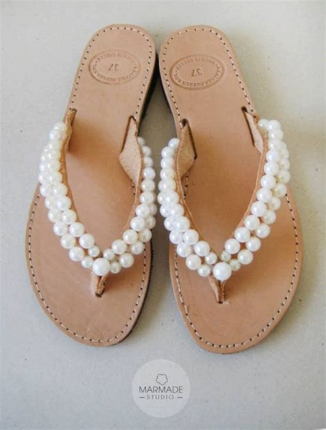 Bridal leather sandals by Marmade   Handmade leather flip