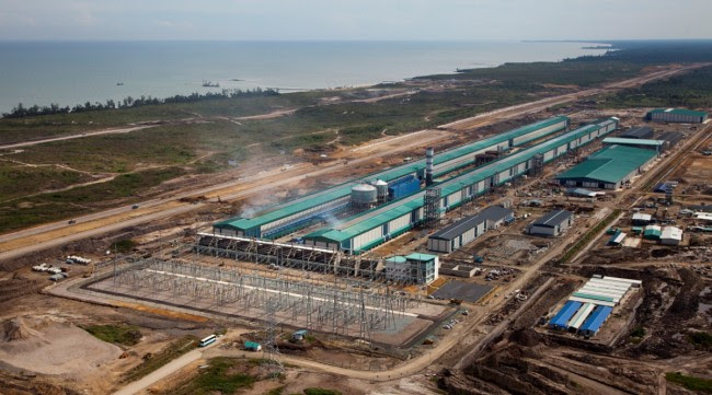 Aluminium smelter in Sarawak's former rainforest