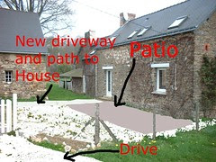 Photo sketch of our Gite's new Patio and Driveway